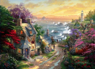Thomas Kinkade Painting - The Village Lighthouse Thomas Kinkade