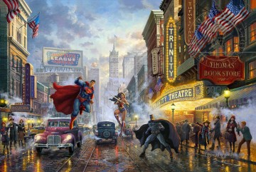 Batman Superman and Wonder Woman Hollywood Movie Thomas Kinkade Oil Paintings
