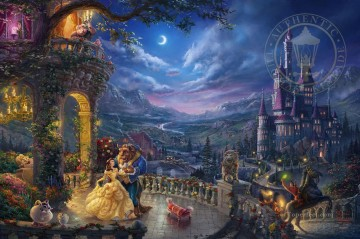 Thomas Kinkade Painting - Beauty and the Beast Dancing in the Moonlight Thomas Kinkade