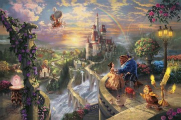 Thomas Kinkade Painting - Beauty and the Beast Falling in Love Thomas Kinkade