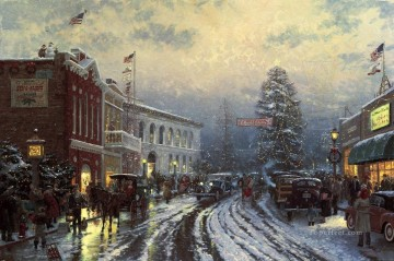 Thomas Kinkade Painting - Christmas at the Courthouse Thomas Kinkade