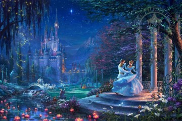 Thomas Kinkade Painting - Cinderella Dancing in the Starlight Thomas Kinkade