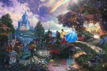 Kinkade Canvas - Cinderella Wishes Upon A Dream Thomas Kinkade