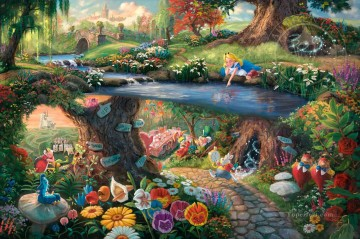Disney Alice in Wonderland Thomas Kinkade Oil Paintings
