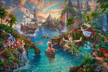 Disney Peter Pan Never Land Thomas Kinkade Oil Paintings
