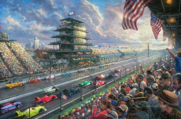 Thomas Kinkade Painting - Indy Excitement 100 Years of Racing at Indianapolis Motor Speedway Thomas Kinkade
