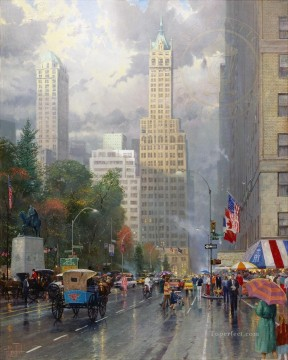 New York Central Park South at Sixth Ave Thomas Kinkade Oil Paintings