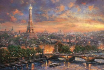 Thomas Kinkade Painting - Paris City of Love Thomas Kinkade