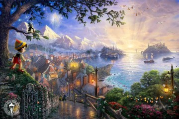 Thomas Kinkade Painting - Pinocchio Wishes Upon a Star Thomas Kinkade
