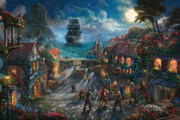 Thomas Kinkade Painting - Pirates of the Caribbean Thomas Kinkade