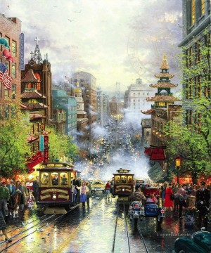 thomas kinkade Painting - San Francisco California Street Thomas Kinkade