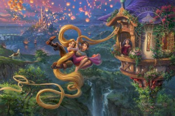 thomas kinkade Painting - Tangled Up In Love Thomas Kinkade