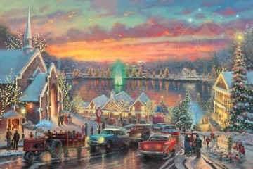 baptism of christ Painting - The Lights of Christmastown Thomas Kinkade