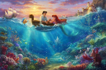 mermaid Painting - The Little Mermaid Falling in Love Thomas Kinkade
