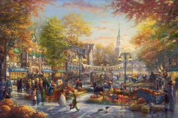 Thomas Kinkade Painting - The Pumpkin Festival Thomas Kinkade