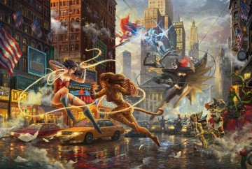 Thomas Kinkade Painting - The Women of DC Hollywood Movie Thomas Kinkade