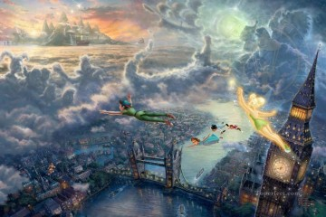 Thomas Kinkade Painting - Tinker Bell and Peter Pan Fly to Neverland Thomas Kinkade