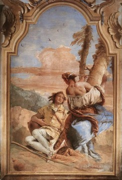 Giovanni Battista Tiepolo Painting - Villa Valmarana Angelica Carving Medoros Name on a Tree Giovanni Battista Tiepolo