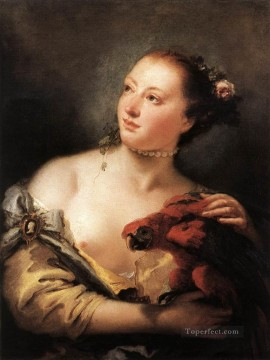 Giovanni Battista Tiepolo Painting - Woman with a Parrot Giovanni Battista Tiepolo
