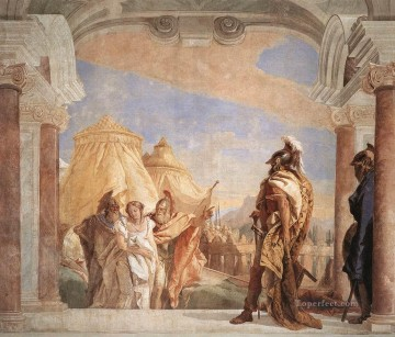 Giovanni Battista Tiepolo Painting - Villa Valmarana Eurybates and Talthybios Lead Briseis to Agamemmon Giovanni Battista Tiepolo