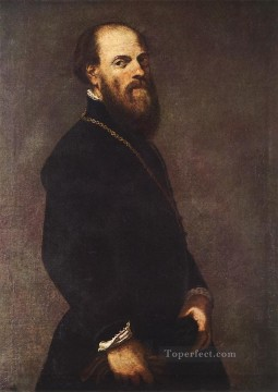 italian Painting - Man with a Golden Lace Italian Renaissance Tintoretto