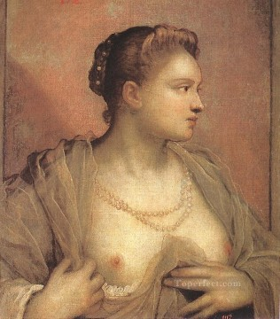 Italian Painting - Portrait of a Woman Revealing her Breasts Italian Renaissance Tintoretto