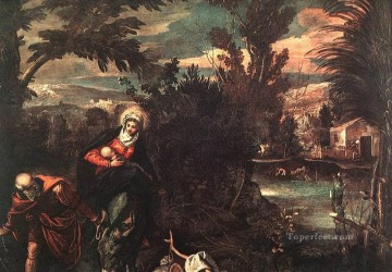 Italian Oil Painting - Flight into Egypt Italian Renaissance Tintoretto