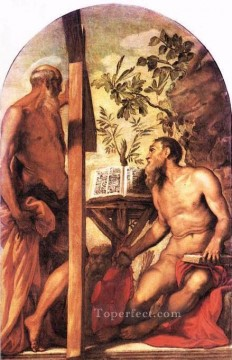 Italian Oil Painting - St Jerome and St Andrew Italian Renaissance Tintoretto