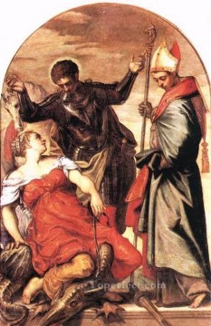 Italian Oil Painting - St Louis St George and the Princess Italian Renaissance Tintoretto