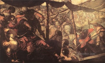 Christian Oil Painting - Battle between Turks and Christians Italian Renaissance Tintoretto
