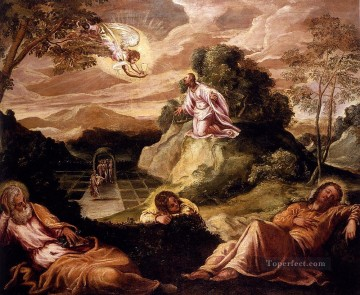 Italian Oil Painting - Robusti Jacopo Agony In The Garden Italian Renaissance Tintoretto