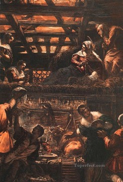 Italian Oil Painting - The Adoration of the Shepherds Italian Renaissance Tintoretto
