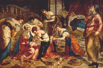 Italian Oil Painting - The Birth of St John the Baptist Italian Renaissance Tintoretto