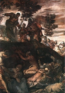 italian Painting - The Miracle of the Loaves and Fishes Italian Renaissance Tintoretto