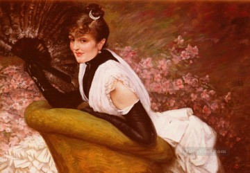 Portrait De Femme A LEventail James Jacques Joseph Tissot Oil Paintings
