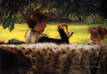 Reading a Story James Jacques Joseph Tissot Decor Art