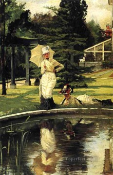 Garden Art - In an English Garden James Jacques Joseph Tissot