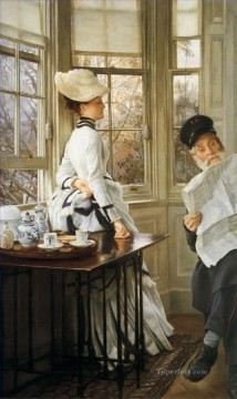 new orleans Painting - Reading the News James Jacques Joseph Tissot