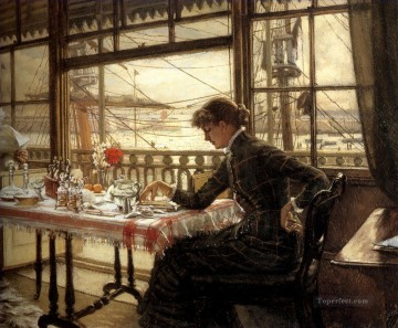 Harbour Painting - Room Overlooking the Harbour James Jacques Joseph Tissot