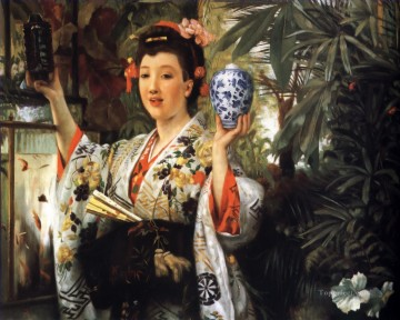 Young Lady Holding Japanese Objects James Jacques Joseph Tissot Oil Paintings