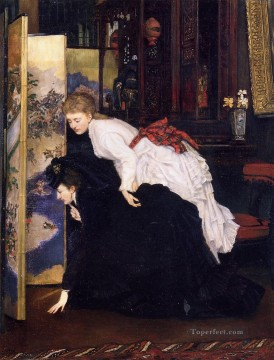 King Painting - Young Women Looking at Japanese Objects2 James Jacques Joseph Tissot