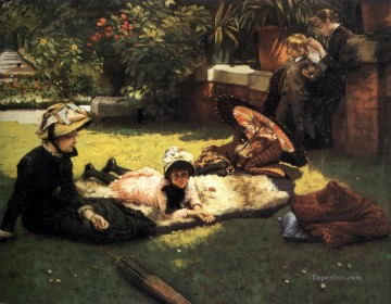 Sun Oil Painting - In the Sunshine James Jacques Joseph Tissot