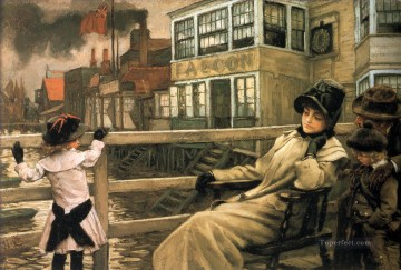 James Tissot Painting - Waiting for the Ferry James Jacques Joseph Tissot