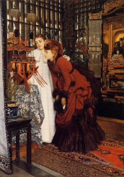 Young Women Looking at Japanese Objects James Jacques Joseph Tissot Oil Paintings
