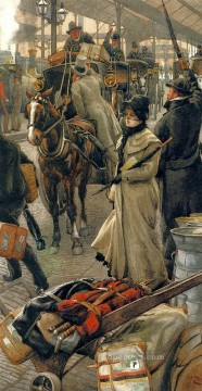 victorian victoria Painting - The departure Platform Victoria Station James Jacques Joseph Tissot