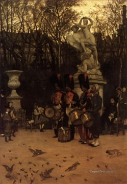 James Tissot Painting - Beating the Retreat in the Tuileries Gardens James Jacques Joseph Tissot