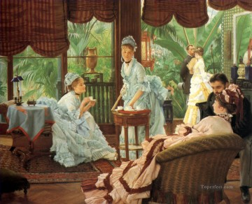 In the Conservatory James Jacques Joseph Tissot Oil Paintings