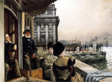 London Art - The Terrace Of The Trafalgar Tavern Greenwich London James Jacques Joseph Tissot