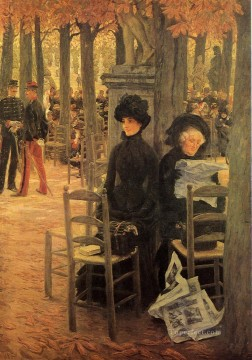 Sun Oil Painting - Without a Dowry aka Sunday in the Luxembourg Gardens James Jacques Joseph Tissot