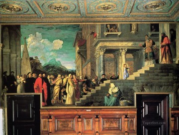 Titian Painting - Entry of Mary into the temple 1534 Tiziano Titian
